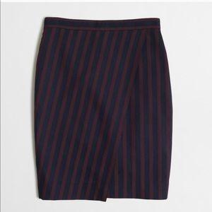 J.Crew Striped Wrap Pencil Skirt Trendy Office